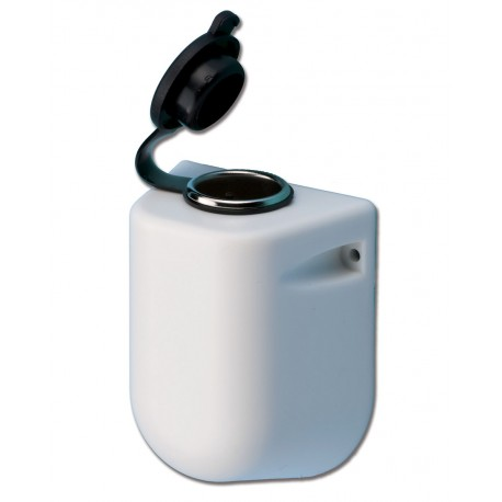 Cigarette lighter socket with hood and cap